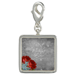 Best Nana Ever. Square Charm, Silver plated Photo Charms