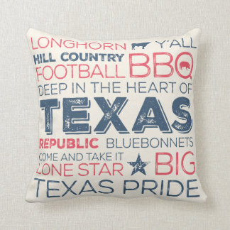 Best of Texas State Throw Pillow - Blue and Red