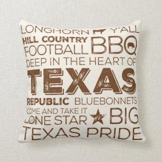 Best of Texas Throw Pillow - Brown