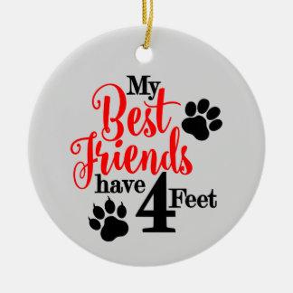 Best Pet Friend Round Ceramic Ornament
