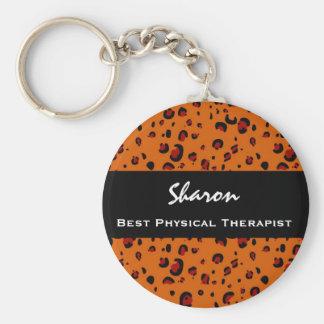 Best Physical Therapist Custom Orange Leopard Gift Basic Round Button Keychain