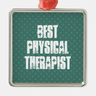 Best Physical Therapist Muted Green Polka Dots Silver-Colored Square Ornament