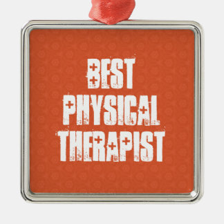 Best PHYSICAL THERAPIST Orange Triangle Pattern Silver-Colored Square Ornament
