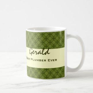 Best PLUMBER Ever GREEN CIRCLES Pattern Mug