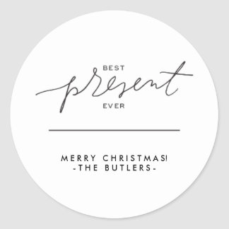 Best Present Ever Holiday Stickers - Black