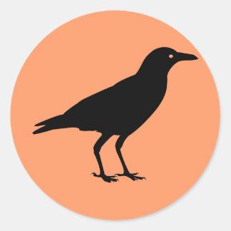 Best Price Black Crow Orange Halloween Round Sticker