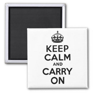 Best Price Keep Calm And Carry On Black and White Square Magnet