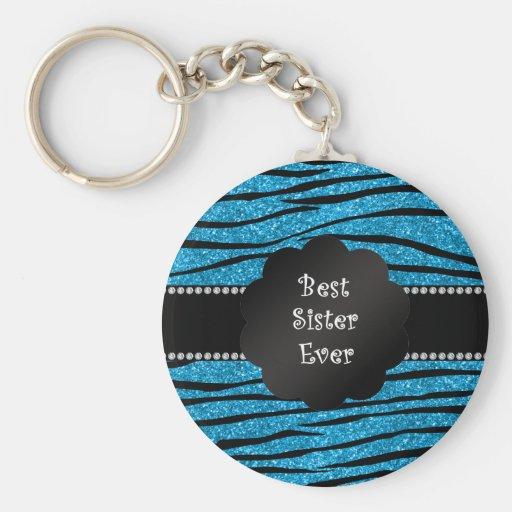 Best sister ever blue glitter zebra stripes keychains