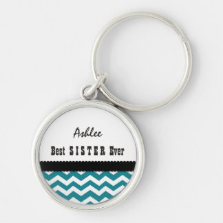 Best SISTER Ever Chevrons Pattern Gift A06 Silver-Colored Round Keychain