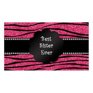 Best sister ever pink glitter zebra stripes business cards