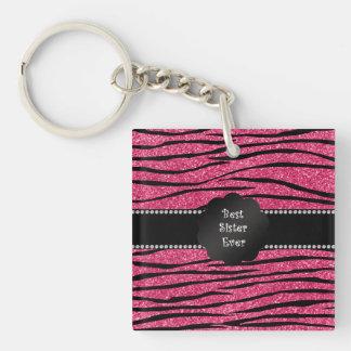Best sister ever pink glitter zebra stripes Single-Sided square acrylic keychain