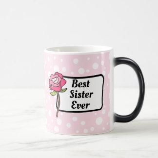 Best Sister Ever Pink Polka Dotted Coffee Mug