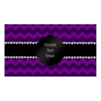 Best sister ever purple chevrons business card template