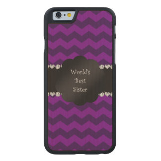 Best sister ever purple chevrons carved® maple iPhone 6 slim case