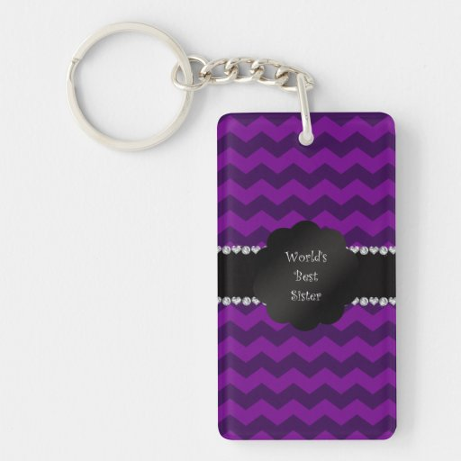 Best sister ever purple chevrons acrylic keychain