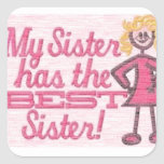 best sister humor square sticker