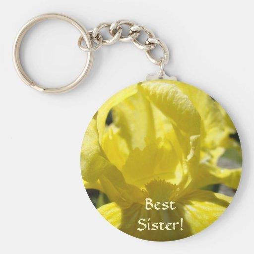 BEST SISTER! Keychain Gift Yellow Iris Flowers
