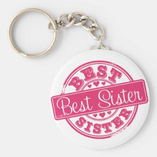 Best sister -rubber stamp effect- basic round button keychain