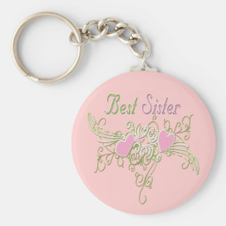 Best Sister Swirling Hearts Basic Round Button Keychain