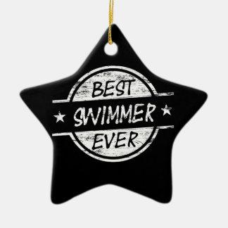 Best Swimmer Ever White Ceramic Ornament