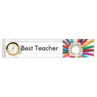 Best Teacher Desk Nameplate with Clock