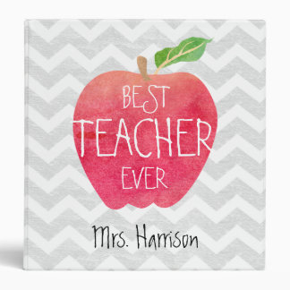 Best Teacher Ever Apple Gray Chevron Personalized Binder