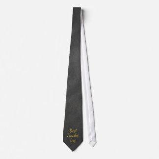 Best Teacher Ever Gold Faux Foil Chalkboard Tie
