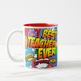 Best Teacher Ever Male Personalize Comic Book Two-Tone Coffee Mug