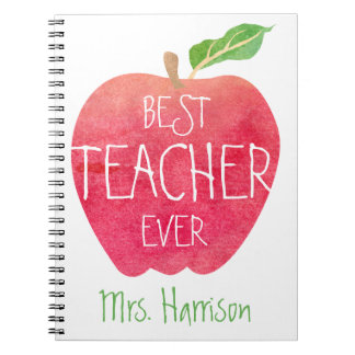 Best Teacher Ever Red Apple Personalized Notebooks