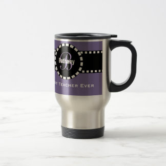 Best TEACHER Monogram and Custom Name V11 PURPLE Travel Mug