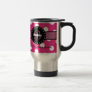Best TEACHER Monogram Pink Polka Dots V02 Travel Mug