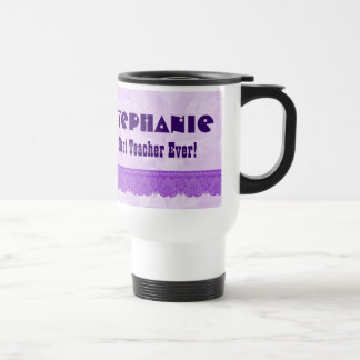 Best Teacher Star and Lace PURPLE Custom Name A02 Travel Mug
