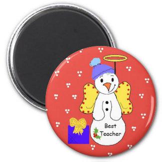 Best Teacher Whimsical Snowman 2 Inch Round Magnet