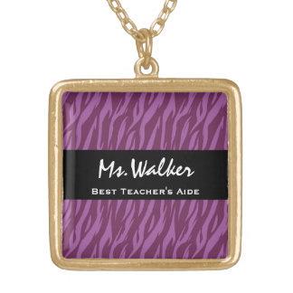 Best TEACHER'S AIDE Purple and Black Zebra Gift Gold Plated Necklace