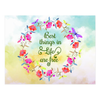 Best things in life are free painted floral wreath postcard