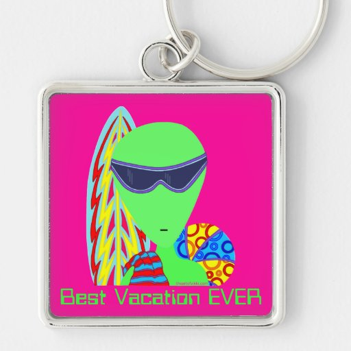 Best Vacation EVER Funny Little Green Man Key Ring Keychains