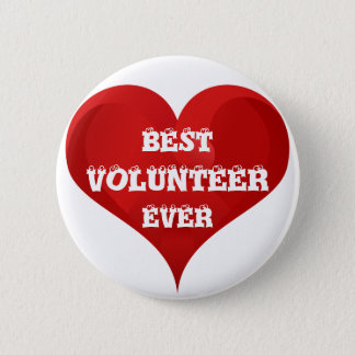 Best Volunteer Ever Red Heart Button