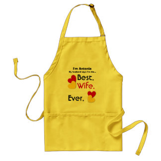 Best Wife Ever Red and Gold Hearts v03 Standard Apron