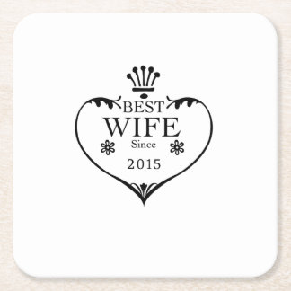 Best Wife Since 2015 2nd wedding anniversary gifts Square Paper Coaster