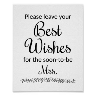 Best Wishes Bridal Shower Sign - Rochester