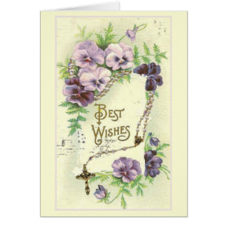 Best Wishes Lavender Pansies Rosary Card