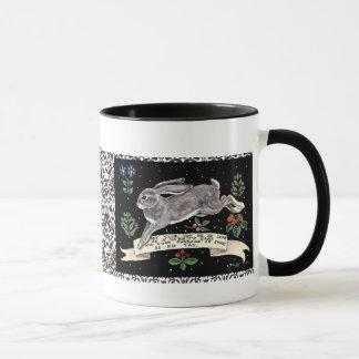 Best-Wishes Rabbit Mug, Running Hare with Flowers Mug