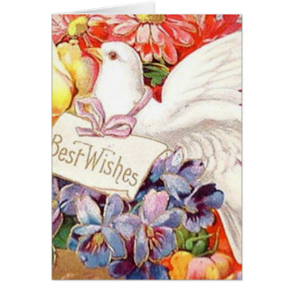 Best Wishes Victorian Dove Flowers Vintage AddText Card