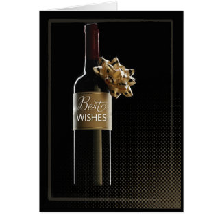 Best Wishes Wedding Congratulations Wine Bottle Card