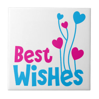 BEST WISHES with love heart balloons Ceramic Tile