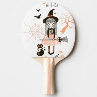 Best Witches Happy Halloween Ping Pong Paddle