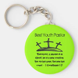 Best Youth Pastor Basic Round Button Keychain