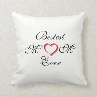 Bestest Mom Ever White/Black Mother's Day - Throw Pillow