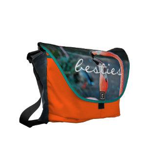 """Besties"" hot pink flamingos photo messenger bag"