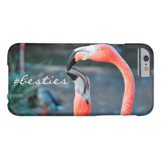 """""""# Besties"""" Quote Cute Orange Pink Flamingos Photo Barely There iPhone 6 Case"""